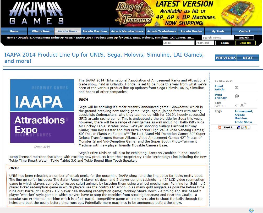 IAAPA 2014 – Highway Games News November 2014
